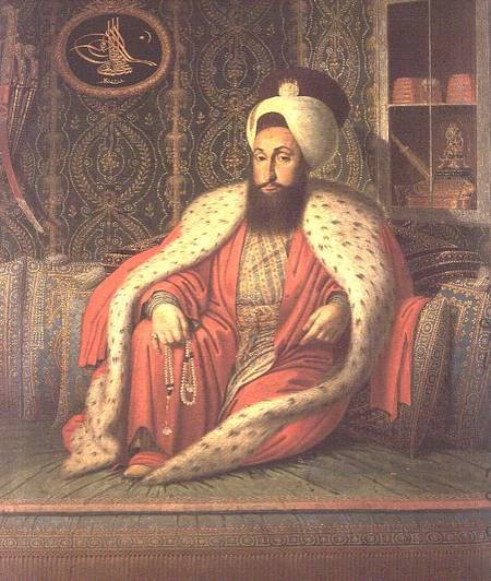 XIR69788 Sultan Mahmud I of Turkey (1696-1754) (oil on canvas) by Turkish School, (18th century) oil on canvas Topkapi Palace Museum, Istanbul, Turkey Turkish, out of copyright